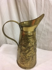 brass pitcher, larger size, embossed decorations