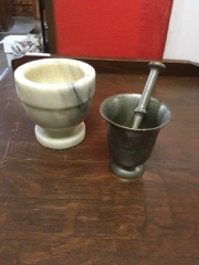 2_mortar_pieces,_metal_with_pestle,_another_marble_no_pestle