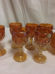 flash_carnival_glass_goblets,_with_decanter