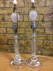 two glass crystal lamps