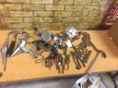 LOT, various old hand tools, wrenches, etc