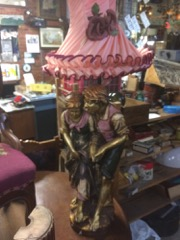 very large figural lamp, pink floral shade, girl and boy