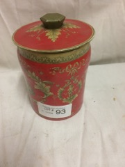 very nice old tea tin, ornate deep red color
