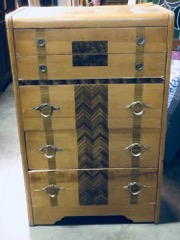 5 drawer deco dresser, blonde with walnut inlays