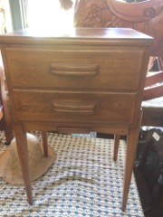 Teak side or night table. two drawers.