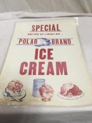 Special polar brand ice cream sign, laminated paper
