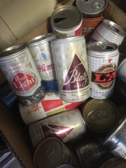 LOT_beer_cans,_various,_about_40_cans