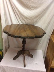 small occasional table, scalloped top.