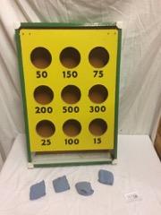 vintage sandbag game, metal frame, with bags