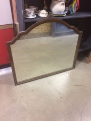 Mirror from old dresser, carved crest top