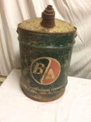 B/A 5 gallon pail tin, with spout, as found