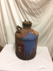 heavy metal 5 gallon gasoline can with cover.
