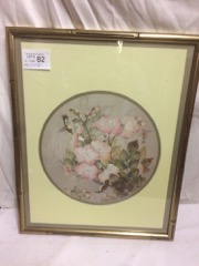 framed pict on Silk, Chinese, delicate floral