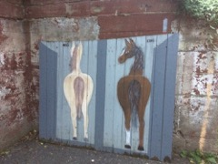 horse painted fence panel, 5.5 feet high