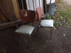 two retro chair frames, chrome is decent