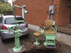 Mint green retro vintage optometrists chair , fabulous shape