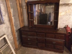 large dresser, pine, with mirror. good paint project