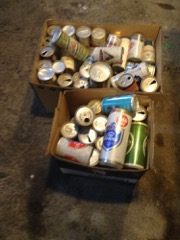 Two boxes of old beer cans. various brands