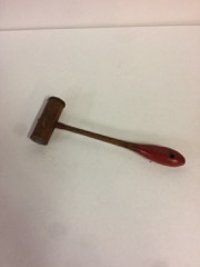 small_artisans_hamer,_red_handle,_leather_one_end