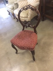 fancy victorian walnut carved side chair
