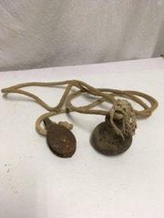 old rope with pulley and weight, from barn?