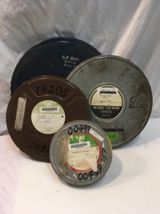 old metal film canisters from 16mm films