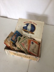 White owl cigar box w beer coasters