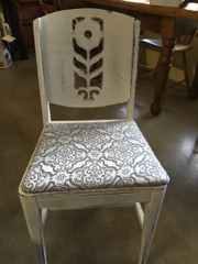 chair shabby white floral design.