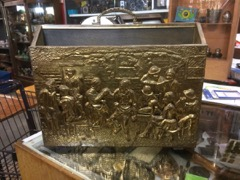 Brass magazine case tavern figures scene