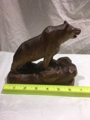 Carved quebec bear signed folk art