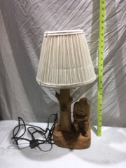 P.E.Caron carved wood lamp quebec folk art
