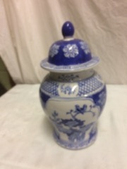 blue ceramic urn chinese I think with cover