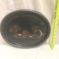 victorian tray oval hand painted