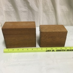 two old index card boxes oak