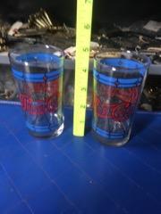 two pepsi cola retro glasses vibrant color