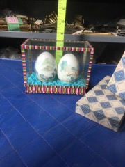 hand painted chinese eggs in display box